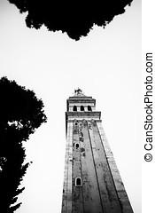 Saint Euphemia belfry in Rovinj bw