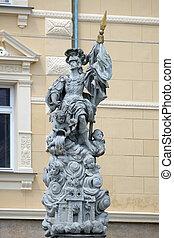 Saint Florian statue on the central square in Ptuj, town on ...