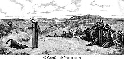 Saint Francis of Assisi and the wolf Gubbio, vintage engraving.