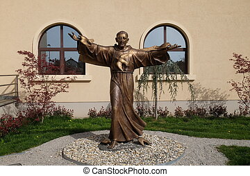 Saint Francis of Assisi statue in front of St. Leopold Mandic church in Zagreb, Croatia