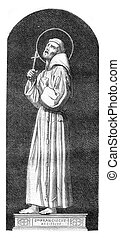 Saint Francis of Assisi, vintage engraving.
