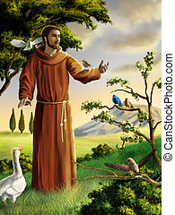 Saint Francis preaching to birds in a beautiful landscape. ...