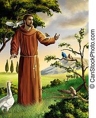 Saint Francis preaching to birds in a beautiful landscape. Digital illustration.