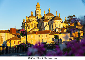 Saint Front Cathedral in Perigueux in the morning, UNESCO World Heritage site, Perigord Blanc, Dordogne..