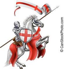 saint, george, de, angleterre, chevalier, sur, cheval