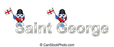 Saint George text and patriotic bird waving flag isolated on...
