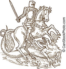 Saint George knight and the dragon doen in black and white