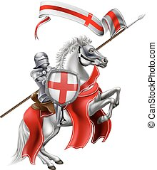 Saint George of England Knight on Horse - An illustration of...