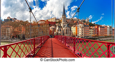 Saint Georges church and footbridge, Lyon, France