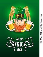 saint, heureux, jour, leprechaun's, patrick's, bière