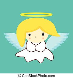 Saint Holy Angel in white dress with halo and yellow hair on green background stock vector illustration