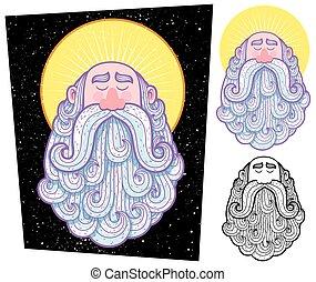Saint - Cartoon illustration of saint in 3 versions.