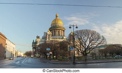 Saint Isaac's Cathedral and Monument to Alexander II morning motion timelapse