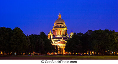 Saint Isaac's Cathedral at night, St. Petersburg