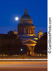 Saint Isaac's Cathedral in St. Petersburg in night