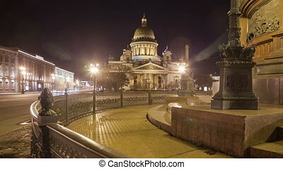 Saint Isaac's Cathedral Monument to Alexander II night slider motion timelapse