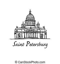 Saint Isaac's Cathedral of Saint Petersburg landmark, Russia. Vector illustration