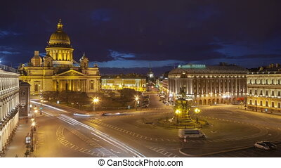 Saint Isaac's Cathedral place night timelapse view from the roof