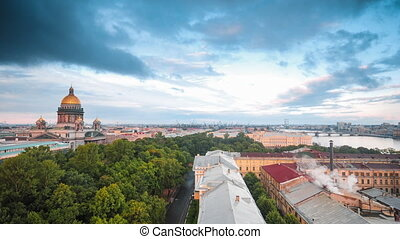 Saint Isaac's Cathedral - Time lapse top view of the...