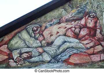 Saint James and two friends are sleeping on Mount of Olives, fresco by Sieger Koder on the wall of the pilgrimage house of St. James in Hohenberg, Germany