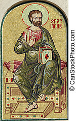Saint James, detail of mosaic from facade of the Romanian...