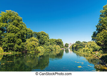 Saint James Park in London on a beautiful summer day