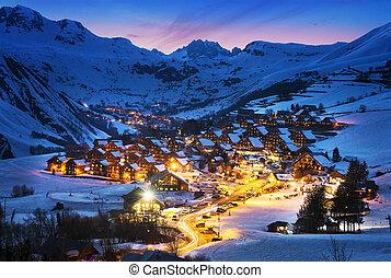 Saint-Jean d'Arves, alps, France - Evening landscape and ski...