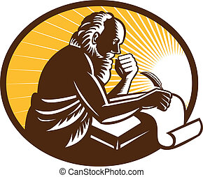 Illustration of an St. Jerome old male saint writing using quill pen on paper scroll viewed from side done in retro woodcut style.