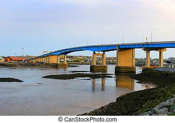 Bridge on the Bay of Fundy in Saint John New Brunswick, Canada at sunset