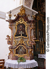 Saint John of Nepomuk altar in the monastery church of St. John in Ursberg, Germany