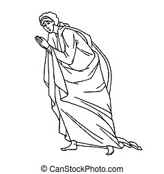 saint john the theologian in prayer pose from orthodox icon, apostle, biblical character, vector illustration with black ink contour lines isolated on a white background in hand drawn style