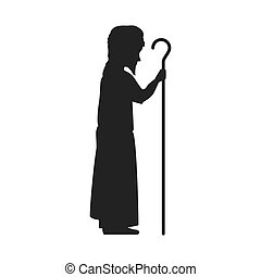saint joseph silhouette. holy family christmas symbol....