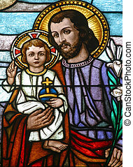 saint, joseph, tenant bébé, jésus