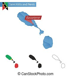 Saint Kitts and Nevis blue Low Poly map with capital...