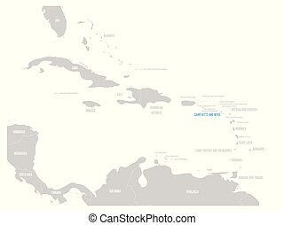 Saint Kitts and Nevis blue marked in the map of Caribbean....