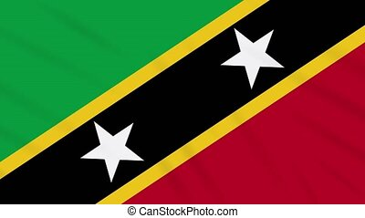 Saint Kitts and Nevis flag waving cloth, loop - Saint Kitts...