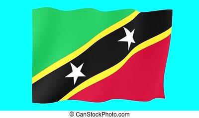 Saint-kitts-and-Nevis-flag. Waving.