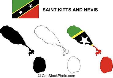 Saint Kitts and Nevis map vector, Saint Kitts and Nevis flag...