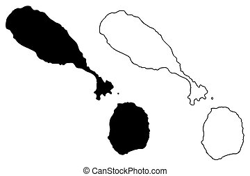 Saint Kitts and Nevis map vector illustration, scribble...