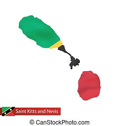 Saint Kitts and Nevis map with waving flag of country....