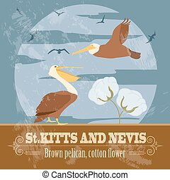 Saint Kitts and Nevis national symbols. Brown pelican, cotton flower. Retro styled image