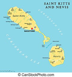 Saint Kitts and Nevis Political Map - Saint Kitts and Nevis...