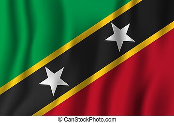 Saint Kitts and Nevis realistic waving flag vector illustration. National country background symbol. Independence day