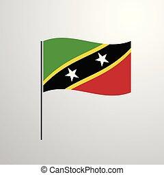 Saint Kitts and Nevis waving Flag