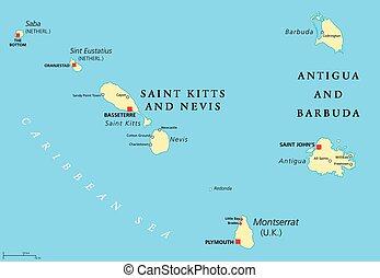 Saint Kitts, Nevis, Antigua, Barbuda and Montserrat political map