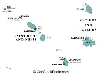Saint Kitts, Nevis, Antigua, Barbuda, Montserrat political map