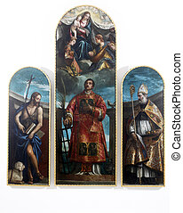 Saint Lawrence with the Virgin, Christ and angels, St. John ...