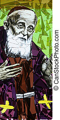 Saint Leopold Mandic - Stained glass with st. Leopold Mandic