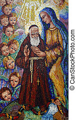 Saint Leopold Mandic with Blessed Virgin Mary