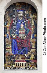 Saint Leopold, mosaic on House facade in Vienna, Austria on ...